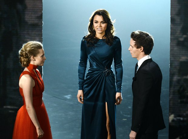 Amanda Seyfried, Samantha Barks and Eddie Redmayne