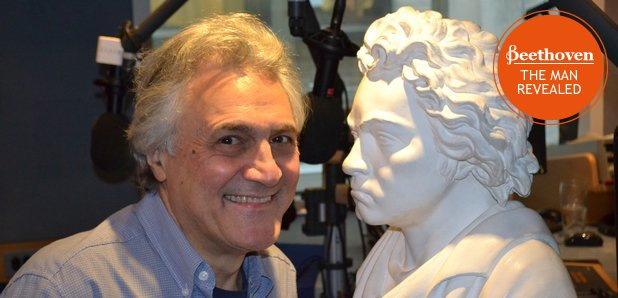 John Suchet and Beethoven bust with stamp