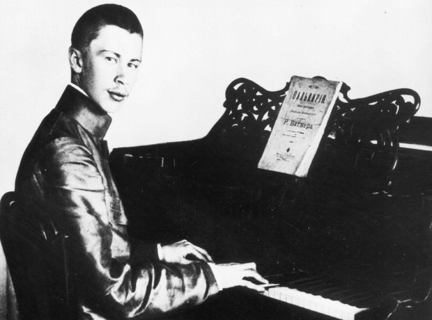 Young Prokofiev 1930 playing the piano
