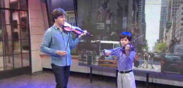 joshua bell plays with child busker
